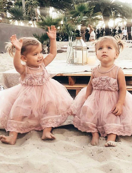 A Line Jewel Mid Calf Blush Tulle Flower Girl Dress with Lace Flowers