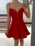 Spaghetti Straps Short Homecoming Dress Red Cocktail Dress with Appliques - ericprom