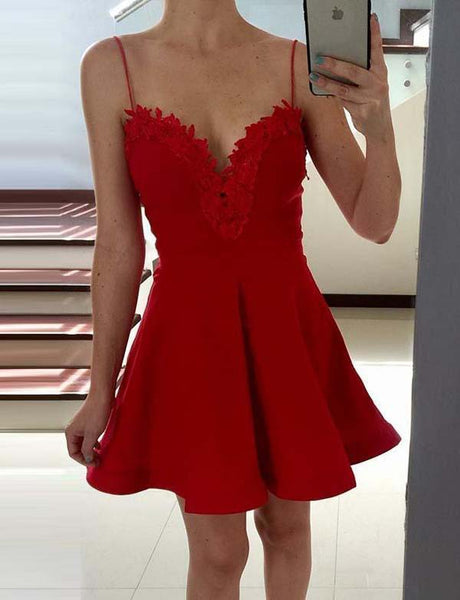 Spaghetti Straps Short Homecoming Dress Red Cocktail Dress with Appliques