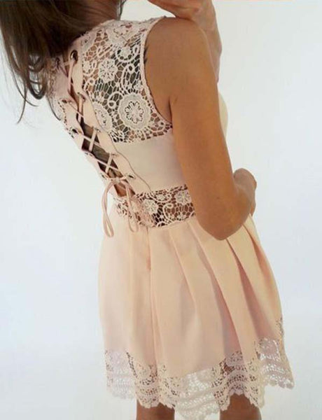 Simple A Line Jewel Short Lace-up Pink Homecoming Dress with Lace