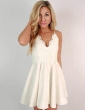 White Cocktail Dress Spaghetti Straps Short Homecoming Dress with Appliques - ericprom