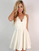 White Cocktail Dress Spaghetti Straps Short Homecoming Dress with Appliques