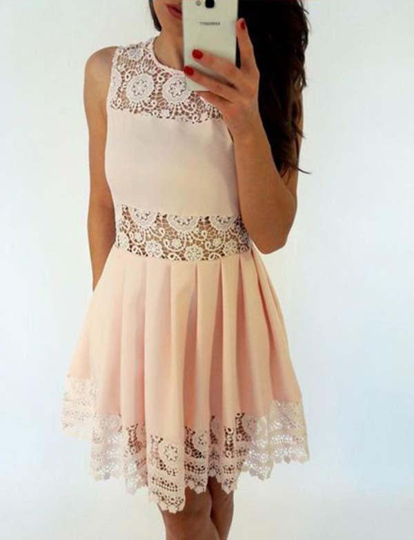 Simple A Line Jewel Short Lace-up Pink Homecoming Dress with Lace - ericprom