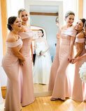 Simple Sheath Long Pink Bridesmaid Dress Off the Shoulder Wedding Party Dress - ericprom