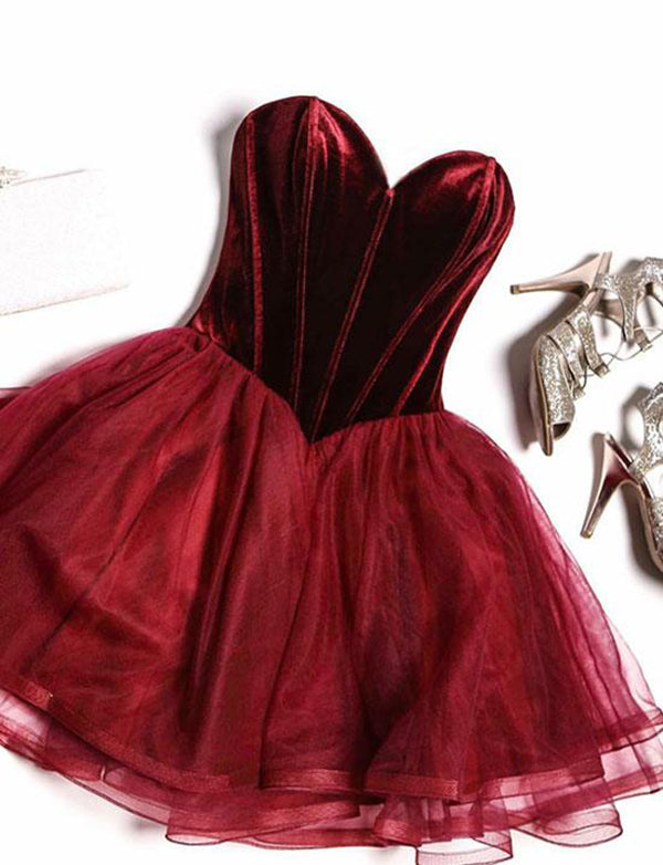 Hot Sweetheart Prom Dress Short Burgundy Homecoming Dress - ericprom