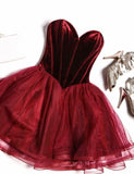 Hot Sweetheart Prom Dress Short Burgundy Homecoming Dress