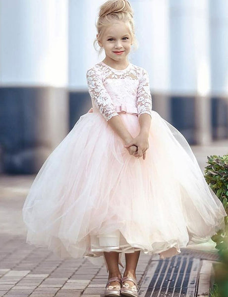 Round Neck Ankle Length Pearl Pink Flower Girls Dress with Lace Bowknot