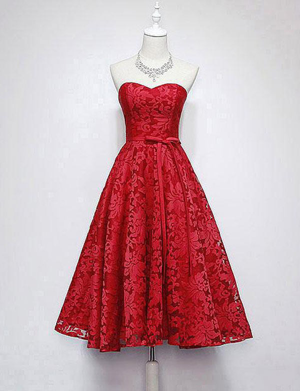A Line Sweetheart Lace Tea Length Red Homecoming Dresses with Bowknot - ericprom