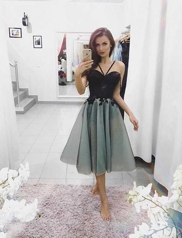 Cross Neck Tea Length Grey Homecoming Dress with Appliques Short Prom Dress - ericprom