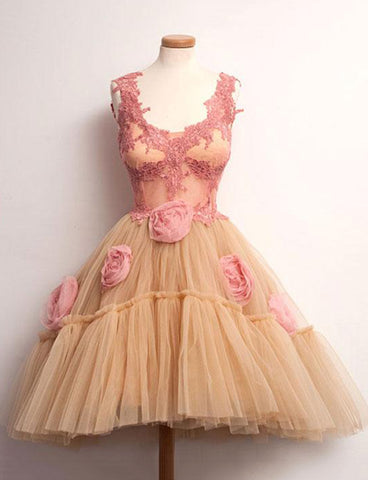 A Line Straps Short Sleeveless Pink Homecoming Dress with Flowers Appliques