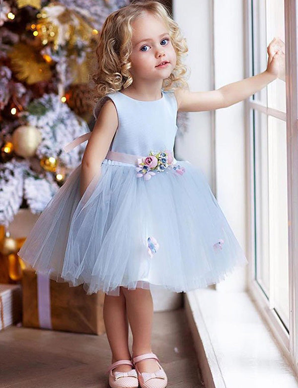 A Line Round Neck Knee Length Tulle Flower Girl Dress with Flowers - ericprom