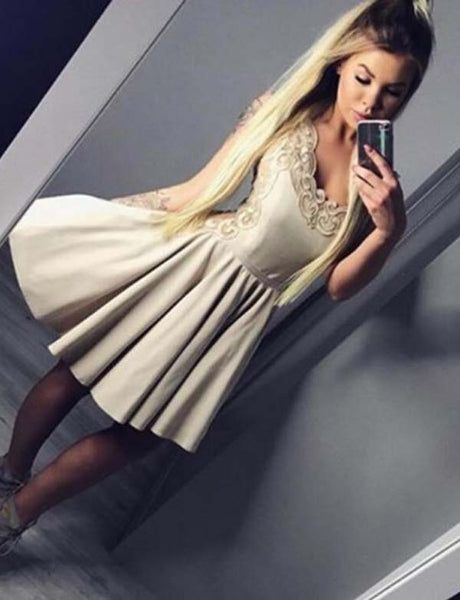 A Line V Neck Long Sleeves Champagne Homecoming Dress with Appliques