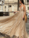 Luxurious Spaghetti Straps Champagne Prom Dress Sequin Long Evening Dresses - ericprom