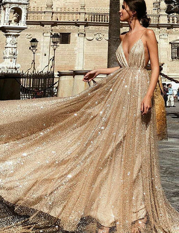 Luxurious Spaghetti Straps Champagne Prom Dress Sequin Long Evening Dresses