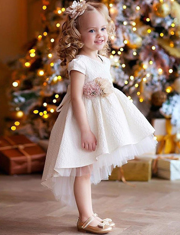 A Line Round Neck High Low White Satin Flower Girl Dress with Flowers - ericprom