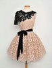 A-Line Round Neck Short Sleeves Lace Short Homecoming with Belt