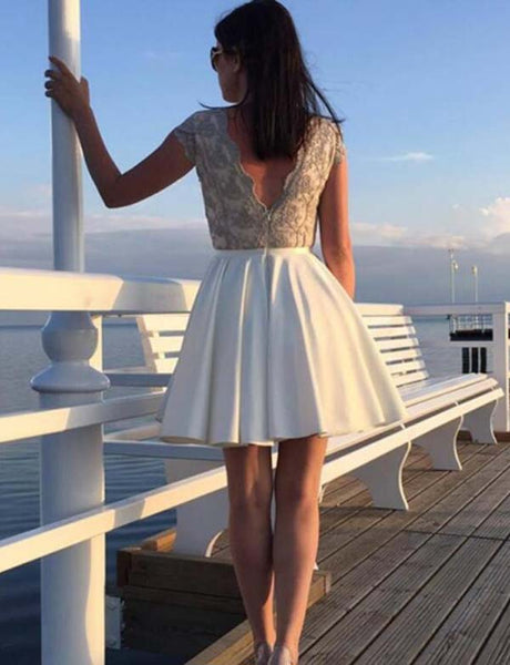 A Line Round Neck Cap Sleeves Satin White Homecoming Dress with Lace