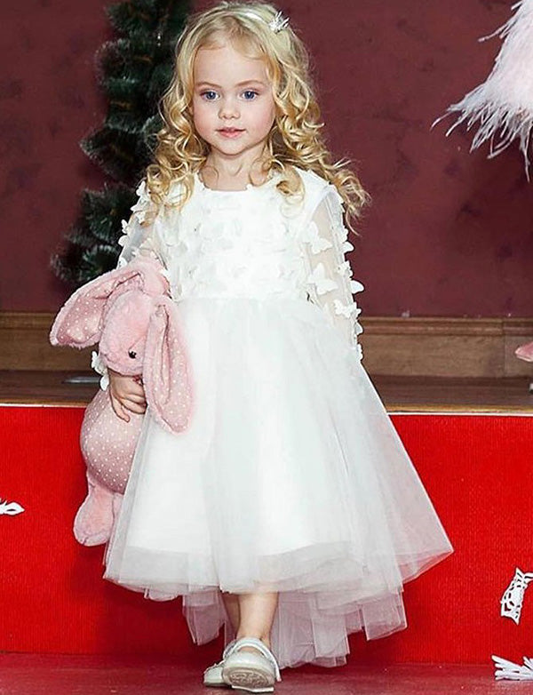 A Line Jewel Long Sleeves White Tulle Flower Girl Dress with Appliques - ericprom