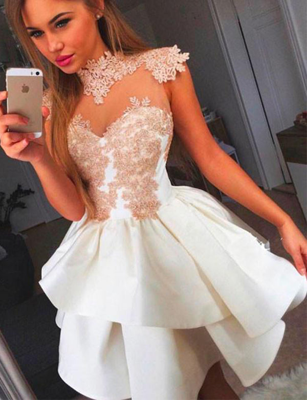 A-Line High Neck Short White Satin Homecomin Dress with Appliques - ericprom