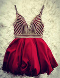 Sexy Spaghetti Straps A Line Burgundy Homecoming Dress with Beading Cocktail Dress - ericprom