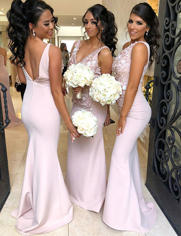 Fashion Mermaid V Neck Long Backless Pink Bridesmaid Dress with Appliques