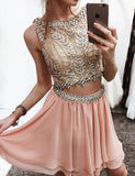 Two Piece Crew Pink Homecoming Dress with Beading Short Cocktail Dress - ericprom