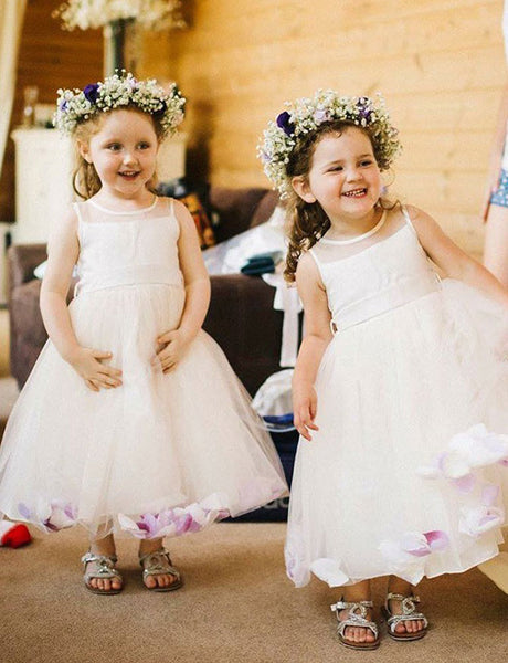 A Line Round Neck Sleeveless White Tulle Flower Girl Dresses with Sash