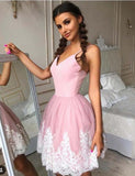 A Line Spaghetti Straps Tulle Short Pink Homecoming Dress with Appliques - ericprom