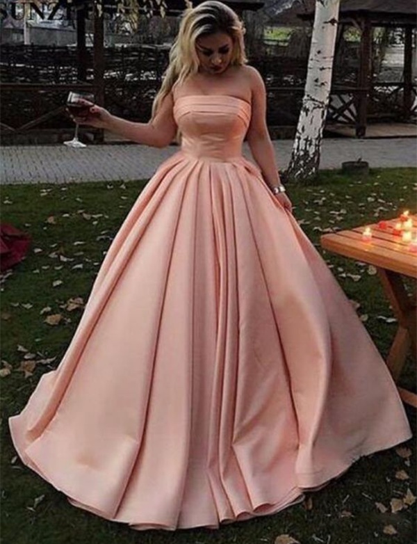 Simple Strapless Prom Gown Sleeveless Floor Length Satin Pink Evening Dress - ericprom