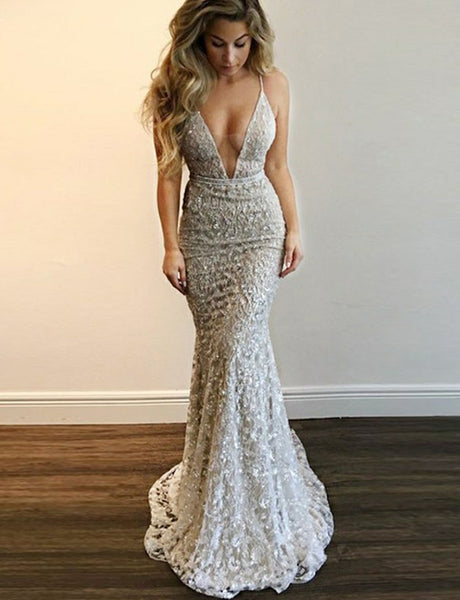 Amazing Mermaid Backless Long Silver Prom Dress with Sequin Evening Dress