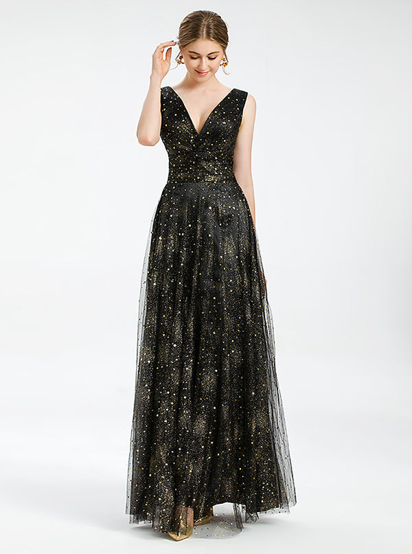 A-line Black Prom Dress With Sequined
