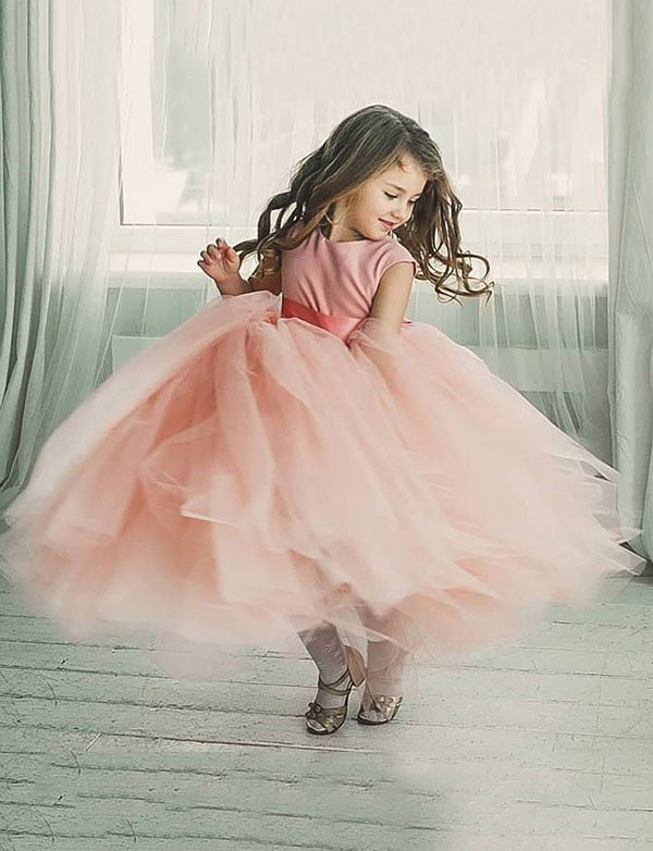 Ball Gown Round Neck Floor Length Pink Tulle Flower Girl Dress with Sash - ericprom