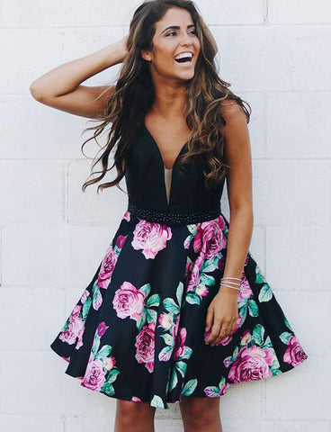 A Line V Neck Sleeveless Short Floral Black Homecoming Dress with Beading