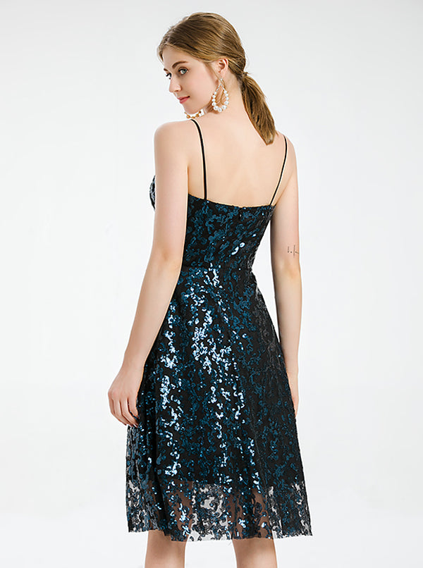 A-line Navy Blue Lace Cocktail Dress With Sequined