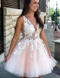 Cute A Line Deep V Neck Short Pearl Pink Homecoming Dress with Appliques - ericprom