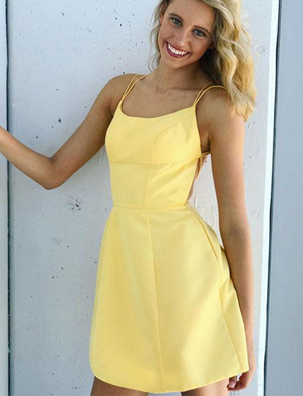 100% high quality select for original online shop Sexy Spaghetti Straps Yellow Cocktail Dress Sleeveless Short Homecoming  Dress
