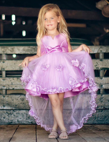 A Line Round Neck High Low Purple Flower Girl Dress with Bowknot Flowers