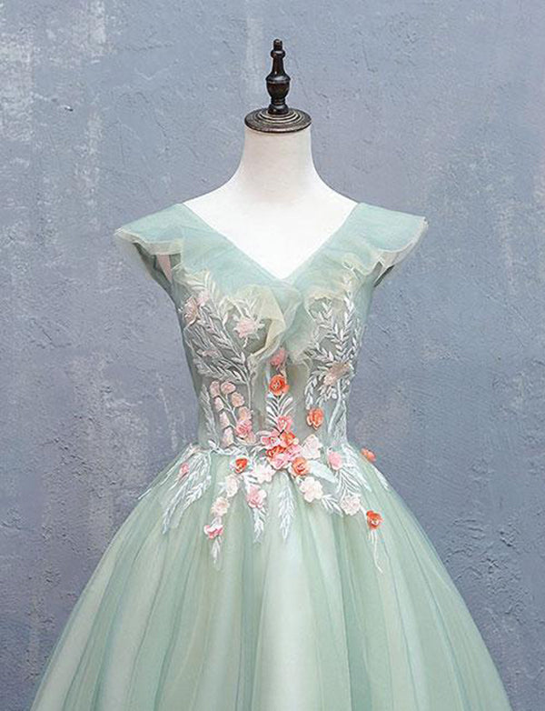 A Line V Neck Cap Sleeves Tulle Sage Short Homecoming Dress with Appliques - ericprom