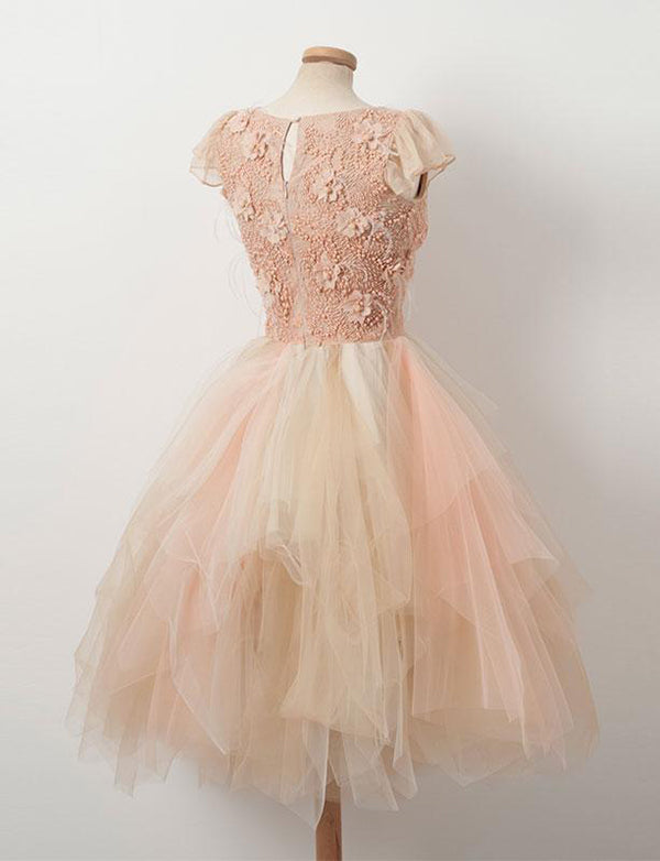A-Line Round Neck Cap Sleeves Pink Tulle Homecoming Dress with Appliques - ericprom