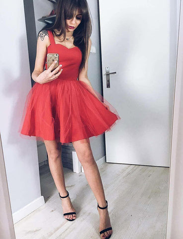 Simple Sleeveless Straps Red Cocktail Dress Tulle Short Black Homecoming Dress