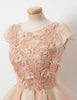 A-Line Round Neck Cap Sleeves Pink Tulle Homecoming Dress with Appliques
