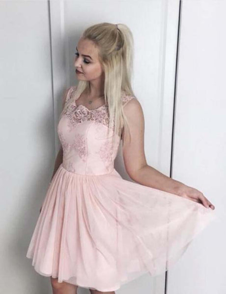Simple A Line Square Short Pink Chiffon Homecoming Dress with Lace