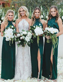 Fashion A Line High Neck Long Satin Dark Green Bridesmaid Dress with Split - ericprom