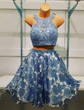 Jewel Short Blue Cocktail Dress Two Piece Homecoming with Appliques - ericprom
