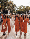 A Line V Neck Long Sleeves Ankle Length Orange Chiffon Bridesmaid Dress - ericprom