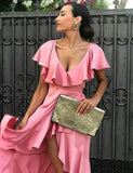 Simple V Neck High Low Pink Bridesmaid Dress with Ruffles Short Wedding Party Dress - ericprom