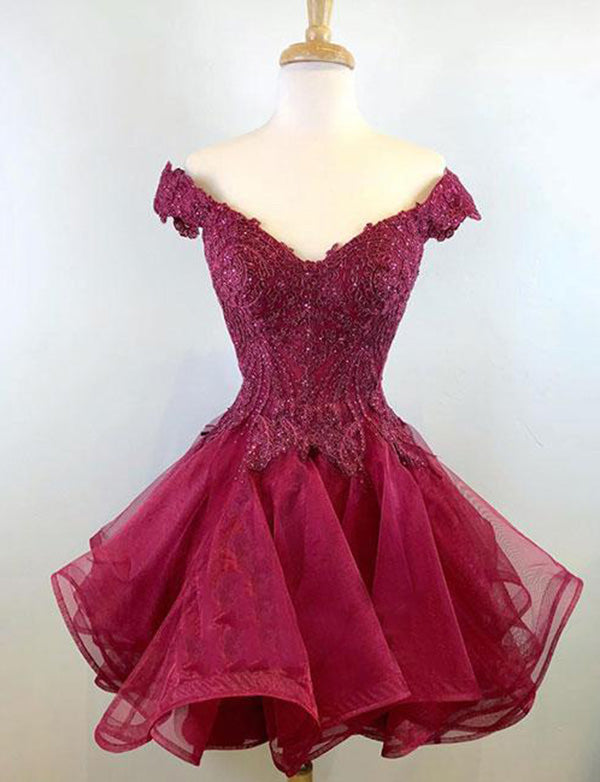Off the Shoulder Short Cocktail Dress Burgundy Homecoming Dress with Appliques - ericprom