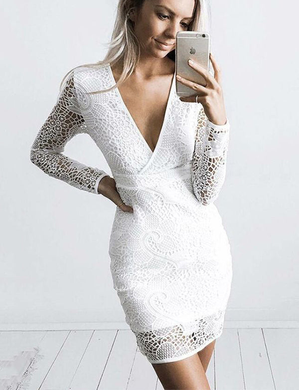 Simple Short V-Neck Lace Cocktail Dress Long Sleeves White Homecoming Dress - ericprom