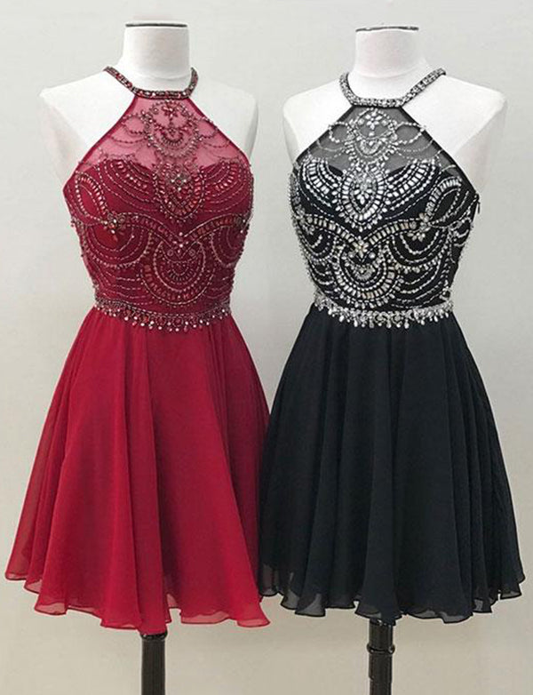 Halter Red Homecoming Dress Sleeveless Black Cocktail Dress with Beading - ericprom