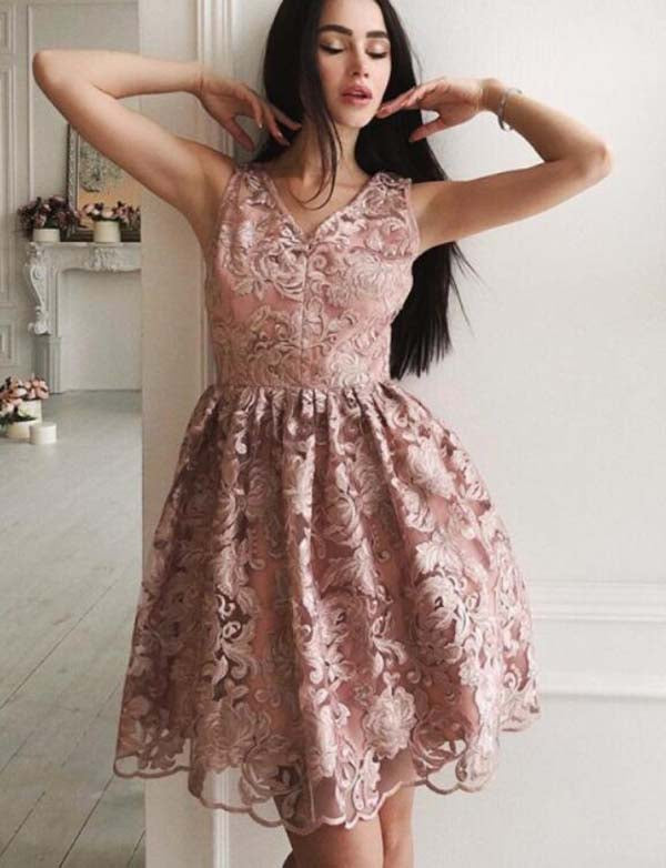 Charming V Neck Sleeveless Lace A Line Short Pink Homecoming Dress - ericprom